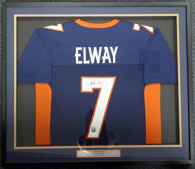 84a0fda4c00 John Elway Autographed Signed Framed Denver Broncos Jersey JSA