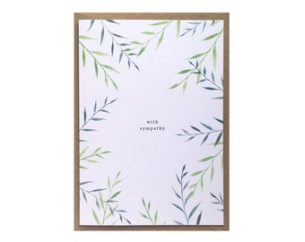 Sympathy card - With sympathy - Thinking of you sympathy - Bereavement card - Watercolour illustration - Botanical leaf print - Green leaves