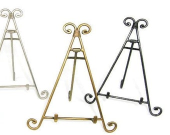 """Decorative Metal Easel Display Stand- Iron, Copper, Antique Brass and Pewter 10"""" tall"""