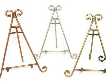decorative metal easel display stand iron copper antique etsy