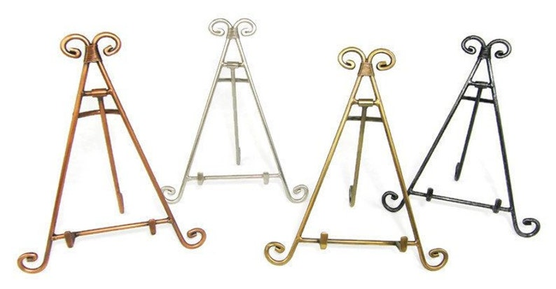 Decorative Metal Easel Display Stand Iron Copper Antique image 0