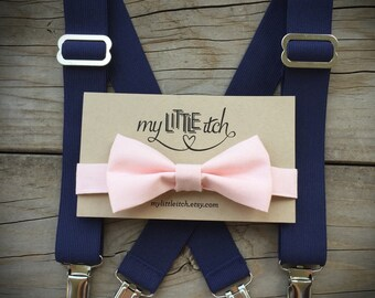 Simple /& Elegant Suspender and Bow Tie Set for Boys Girls Children Beige//Ivory