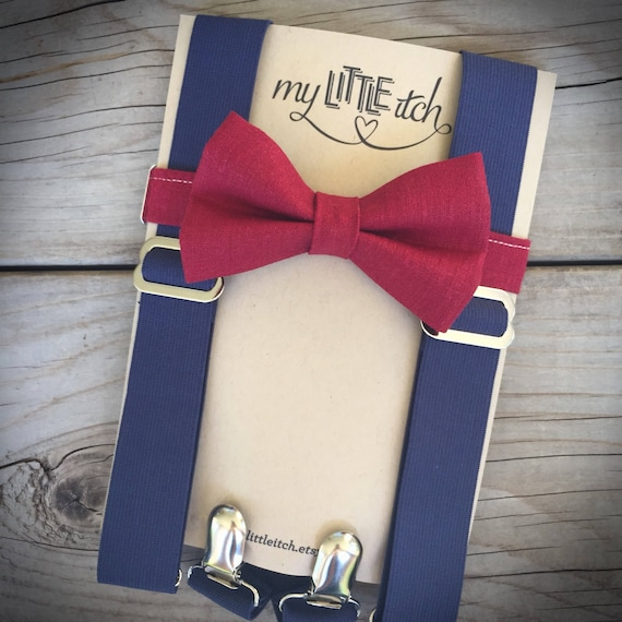 Simple /& Elegant Suspender and Bow Tie Set for Boys Girls Children Burgundy PD
