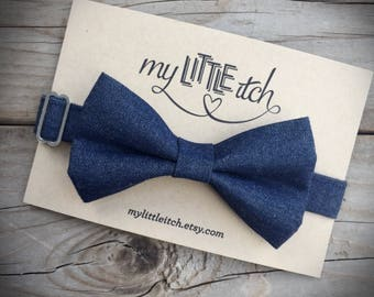 Denim Baby Bow Tie, Ring Bearer Bow Tie, Wedding Bow Tie, Cake Smash Outfit Boy, Bow Ties for Boys, Mens Bow Tie, Navy Bow Tie