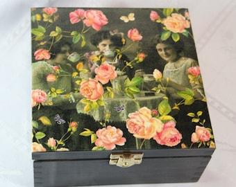 tea box, wooden box, tea storage box, nice housewarming gift