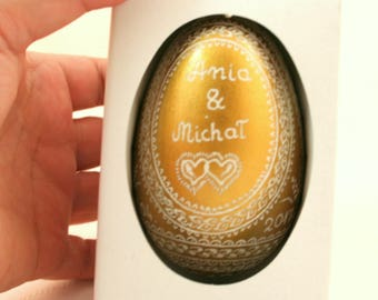 personalized easter eggs, golden eggs, goose egg, easter egg, pysanka, personalized gift