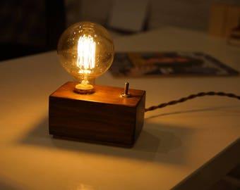 Table Lamp Wooden Edison Bulb Vintage Decor Etsy