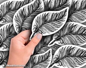 Feather Zentangle Art Sticker; waterproof, water bottle, laptop