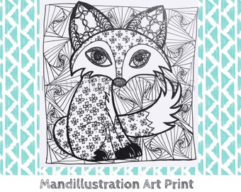Zen Fox Ink Art Print by Mandi Ilene