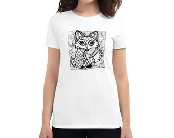 Fox Zentangle Women's short sleeve t-shirt by MISCHEIF ARTworks