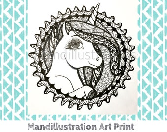 Zen Unicorn Ink Art Print by Mandi Ilene