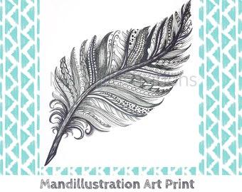 Zen Feather Ink Art Print by Mandi Ilene