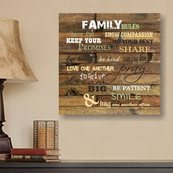 Family Rules Hanging Home Decor Wall Art Wall Decor Etsy