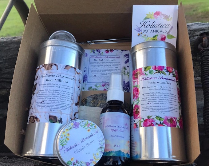 Post partum Gift Set - Baby shower gift, Pregnancy tea, Nipple balm