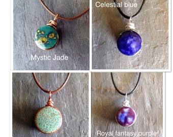 Aromatherapy Necklaces- Glazed essential oil pendant, Aromatherapy pendant, Lava rock jewelry