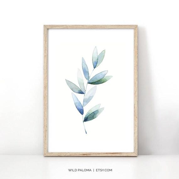 Moderna planta hoja lámina acuarela pintura pared Extra grande