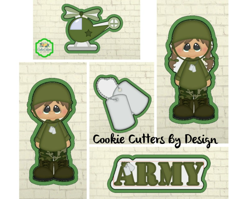Army Cookie Cutter  Military Cookie Cutter  Helicopter  Dog Tags  Cookie Cutter  3D Printed Cookie Cutters