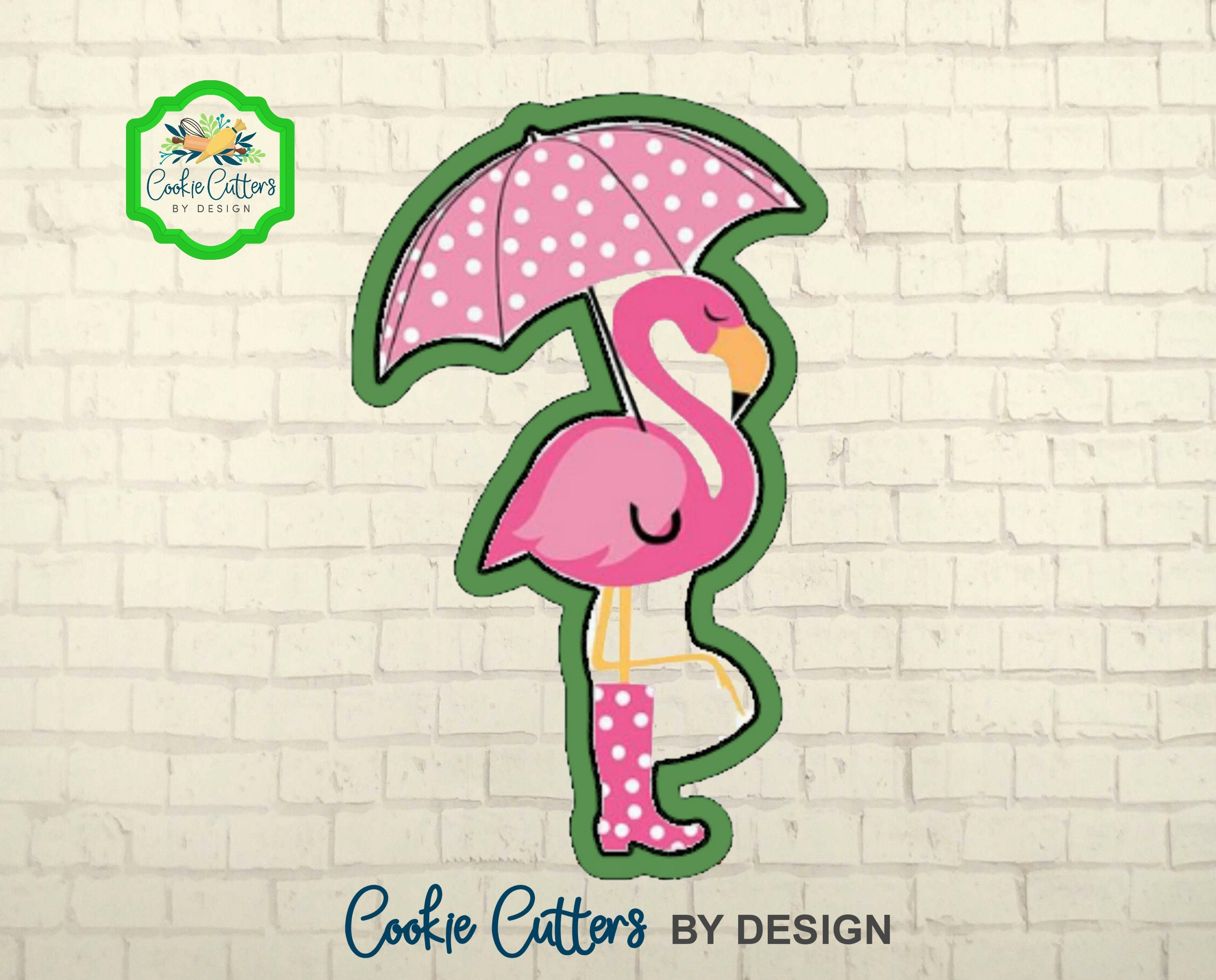 Flamingo Cookie Cutter / with Umbrella and Rain Boots / 3D | Etsy