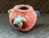 Native American Indian-Handmade Pueblo Pottery - Coral ZUNI FETISH POT - Marvelita Phillips