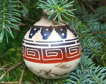 Native American Authentic Etched Horsehair Pottery-Navajo - Ceramic ORNAMENT - Marjorie Joe