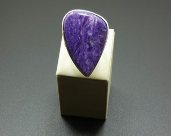 Natural   Charoite 925 Sterling Silver Ring