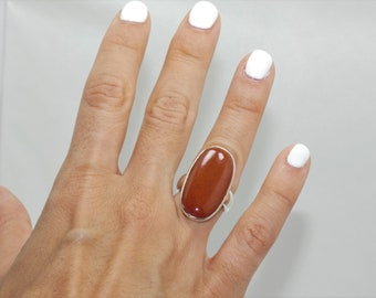 Natural  Red Jasper  925 Sterling  Silver Ring