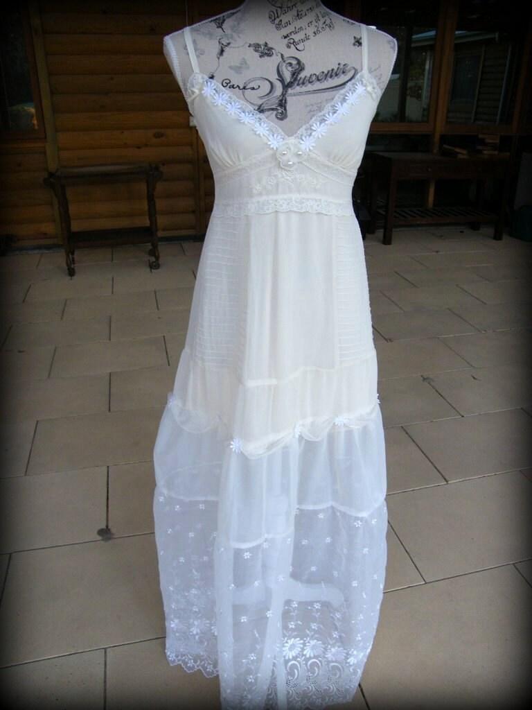 Boho Wedding Dress Upcycled Clothing Maxi Dress Eco