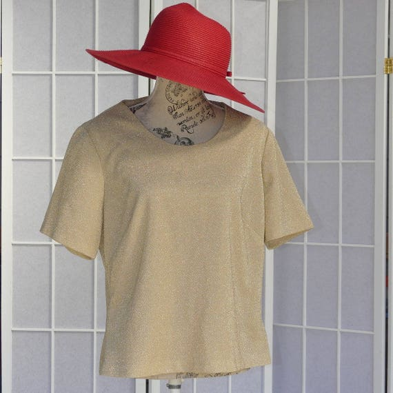 Plus Size 1960s Short Sleeve Gold Blouse for Woman