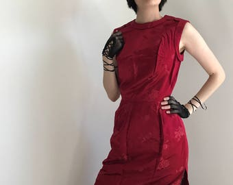 Vintage 1950s Asian Inspired Red Satin Wiggle Dress