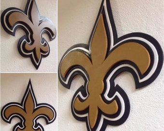 3D New Orleans Saints Logo MDF WOOD Sign 175 X 14 Hand Made Man Men Gift Cave Football Father Dad Husband Christmas Birthday NFL