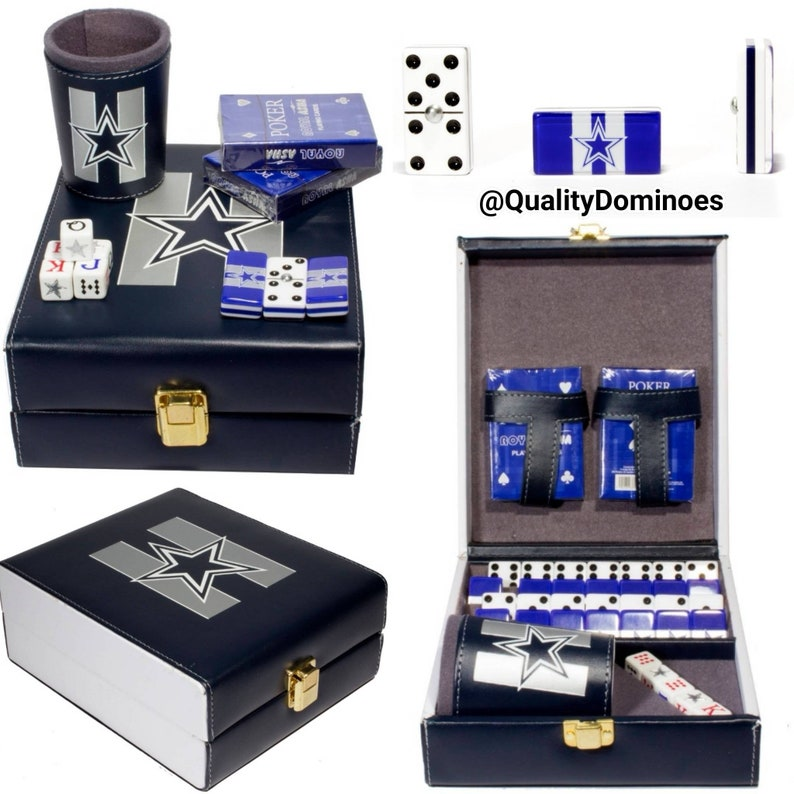 9bec7b268 Dallas Cowboys Deluxe Set 3 Games: Domino + Cubilete + 2 Poker Cards Father  Dad Husband Man Men Christmas Birthday Gift Man Cave Dominoes