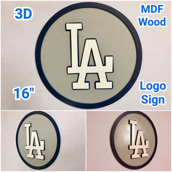 3D Los Angeles Dodgers Logo MDF WOOD Sign 16 Hand Made