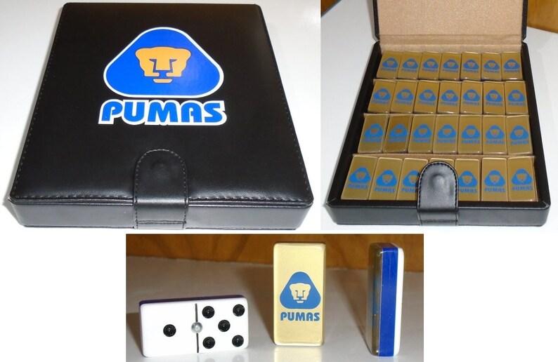 84d94e09b Pumas UNAM Domino Game Set Double 6 Dominoes Futbol Soccer | Etsy