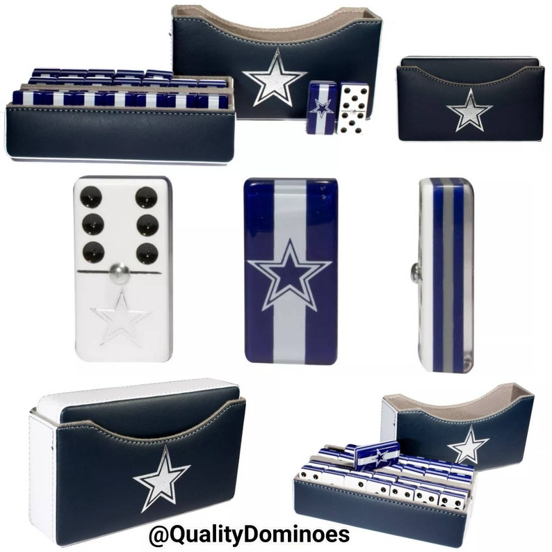 60100d3e5 Dallas Cowboys Domino Set Double 6 Jumbo Size Dominoes Football Dominos  Father Dad Husband Groom Man Men Christmas Birthday Gift Man Cave