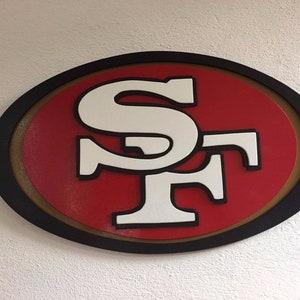 3d San Francisco 49ers Logo Mdf Wood Sign 20 X 12 Hand Etsy