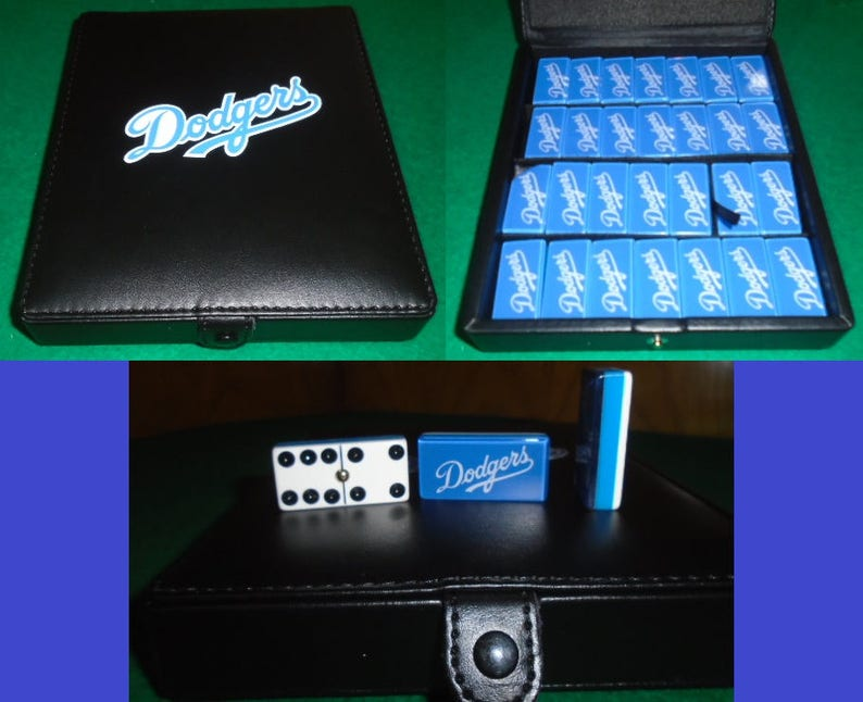 Los Angeles Dodgers Domino Game Set Double 6 Dominoes Baseball