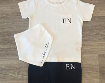 Personalised Tracksuits, white t-shirt & Joggers, baby initials