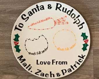 Christmas Eve Plate, Snacks for Santa & Rudolph Personalised