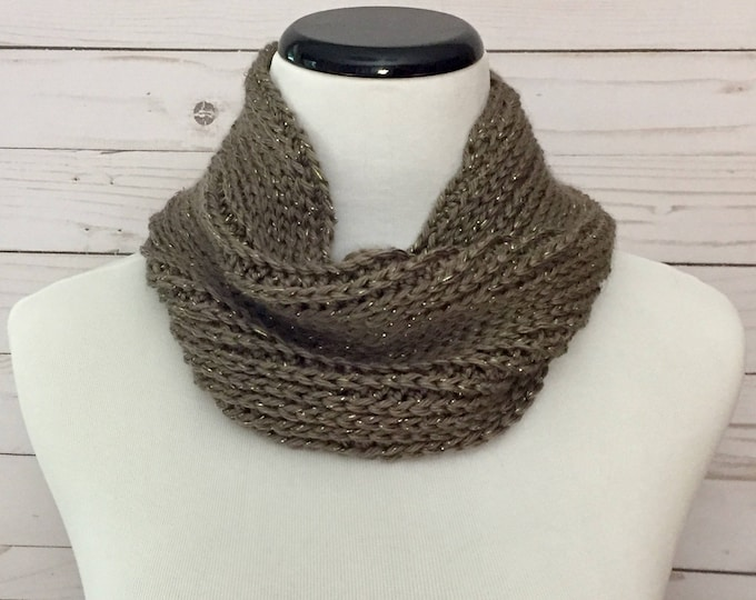 Faux Knit Cowl in Metallic Taupe