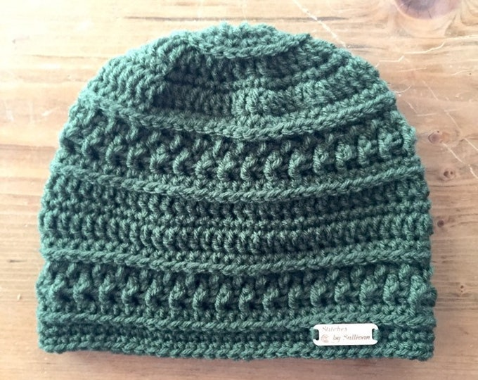 Northwoods Beanie in Olive, crochet beanie, crochet hat, crochet cap, beanie, hat, cap