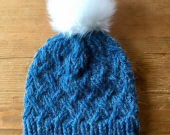 Laurel Beanie in Alpaca Blue, knit beanie, knit hat, knit cap