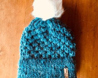 Sparrow Beanie in Alpaca Blue, knit beanie, knit hat, knit cap