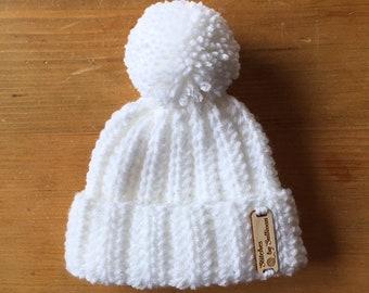 Jackson Beanie in White, newborn, baby beanie, baby hat