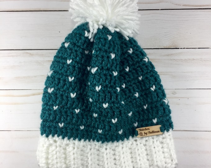 Winter Love Slouchy Hat in Teal and White