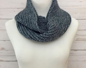 Faux Knit Infinity Scarf in Denim