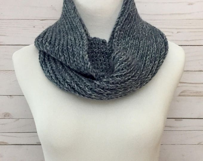 Faux Knit Infinity Scarf in Denim