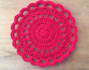 Crochet Trivet in Red, hotpad, pot holder