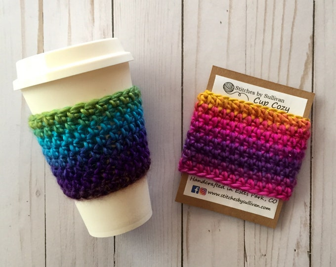 Rainbow Coffee Cozy, crochet coffee cozy, crochet cup cozy, crochet mug cozy