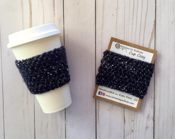 Navy Glam Cup Cozy, crochet coffee cozy, crochet cup cozy, crochet mug cozy