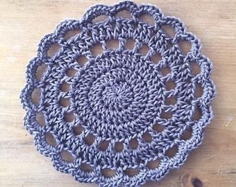 Crochet Trivet in Taupe, hotpad, pot holder